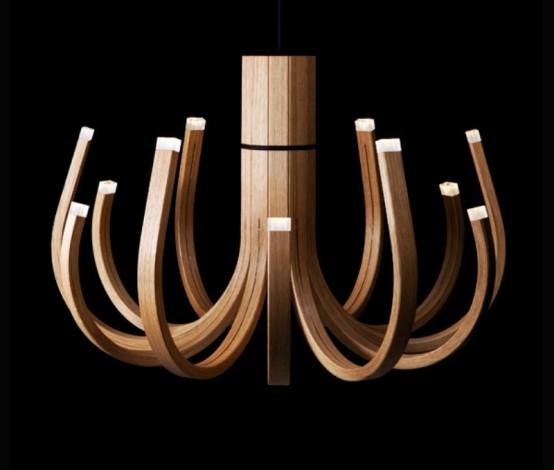 Необычная деревянная люстра со светодиодными лампами