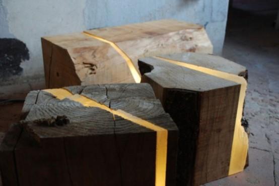 Светильники из натурального дерева