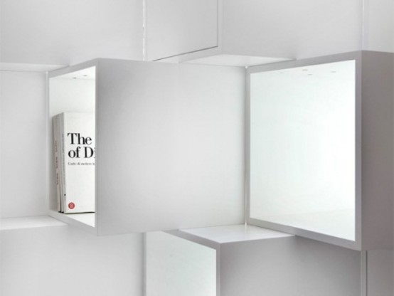 Модульный стеллаж в стиле минимализм