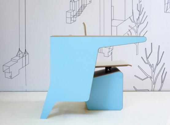 Письменный стол, стул и место для хранения в одном