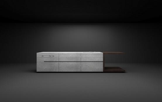 Дизайн кухонной мебели из бетона и темного дерева для мужчин