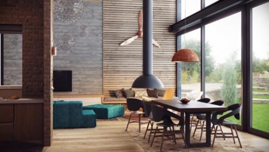 Промышленный стиль лофт в дереве, кирпиче и бетоне