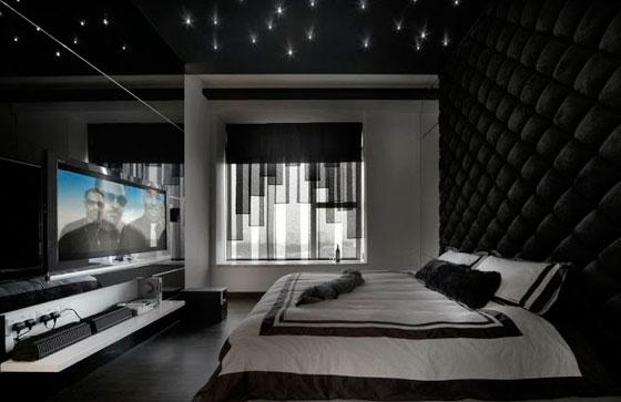 мужской дизайн комнаты в стиле хай-тек