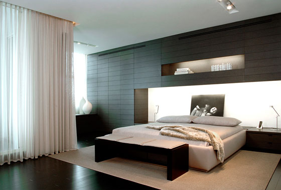дизайн мужской спальни - яркий хай-тек