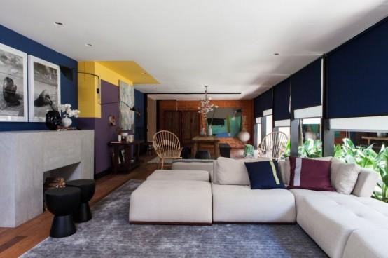 Красочный дизайн дома в стиле фьюжн