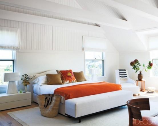 Интерьер спальной в оранжевом цвете
