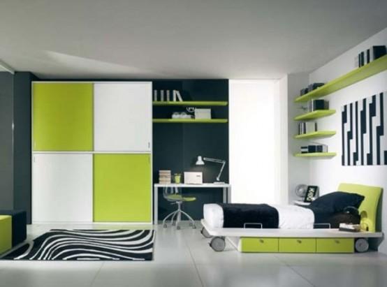 Зеленый цвет в спальне фотогалерея