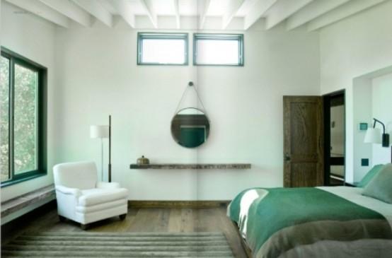 Зеленый цвет в интерьере спальной комнаты