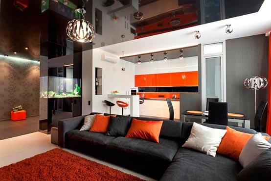 Интерьер зала в доме в стиле хай-тек