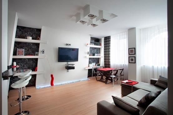 Дизайн и интерьер зала в хай-тек стиле