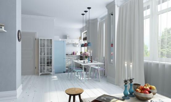 Светлый и просторный чердак в скандинавском стиле
