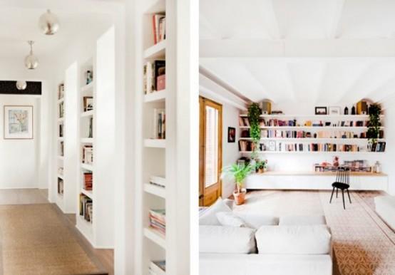 Встраиваемые книжные полки: 14 фото-идей для экономии места