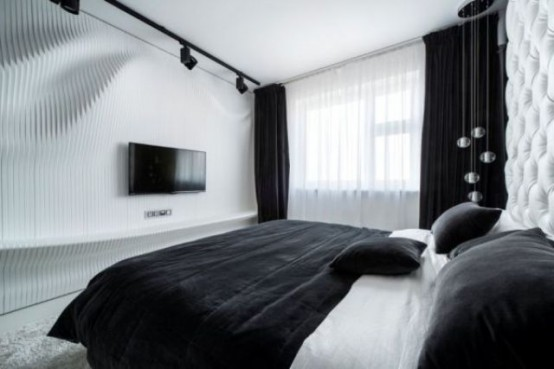 Черно-белый дизайн спальной комнаты от Geometrix Design