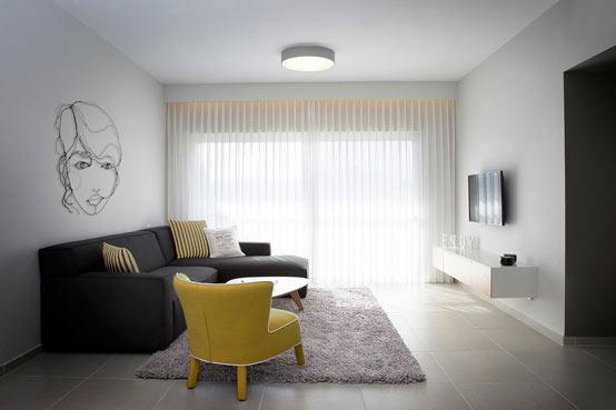 Апартаменты для молодой пары в Израиле: гостиная