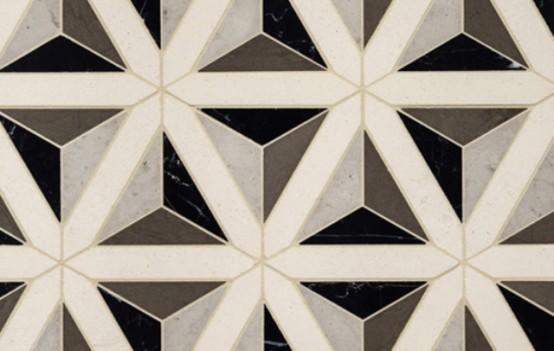 Геометрические узоры в дизайне напольной плитки: 30 фото