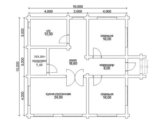 Проект № 2 с двумя жилыми комнатами и кухней-студией