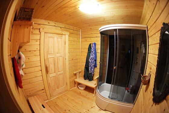 Душевая кабина в интерьере бани