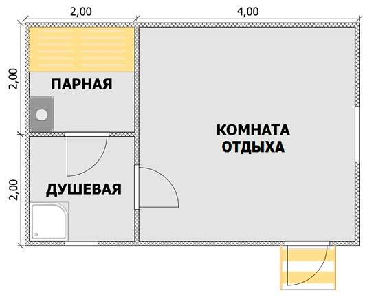 Классическая планировка бани 6х4 метра