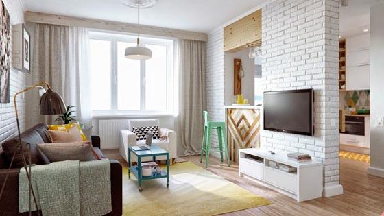 Зонирование комнаты с помощью комбинированной перегородки