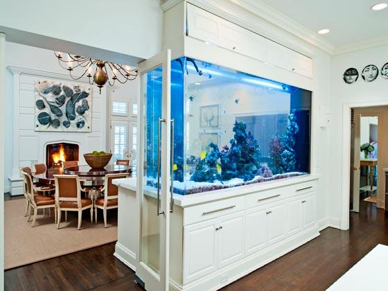 зонирование комнаты с помощью перегородки с аквариумом