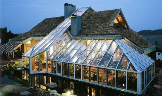 Освещение зимнего сада на крыше дома