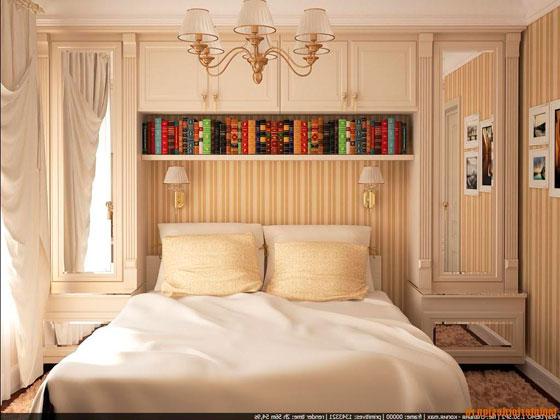 Использование полоски на обоях в небольшой спальне