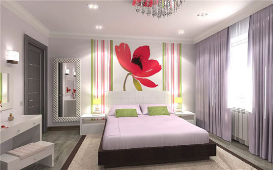 комбинированные обои в спальне над кроватью фото