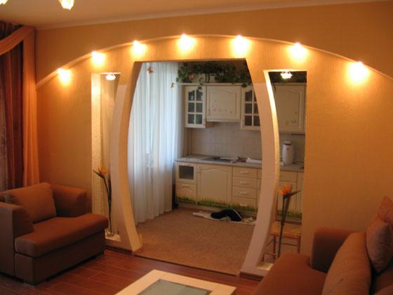 Оформление дверного проема на кухне без двери